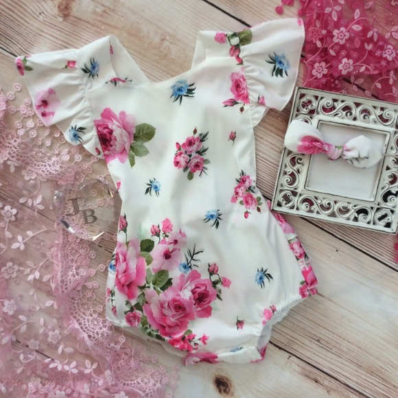 8bd86ade1633 Boutique Baby Girl Floral Romper   Headband